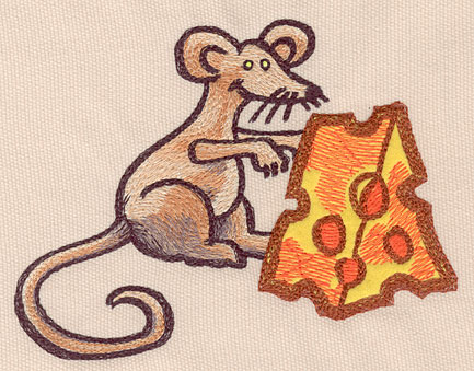 """Embroidery Design: Mouse large with applique cheese5.67""""w X 4.06""""h"""