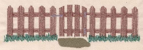 """Embroidery Design: Gate large7.50""""w X 2.41""""h"""