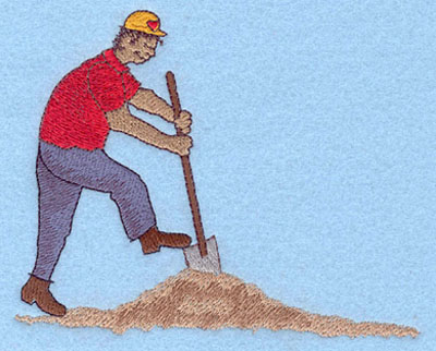 Embroidery Design: Construction Worker Large5.60w X 4.51h