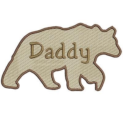 Embroidery Design: Daddy Bear Sm 6.97w X 3.91h