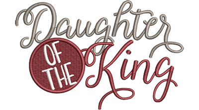 Embroidery Design: Daughter Of The King Cursive Sm 4.85w X 3.14h