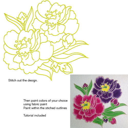Embroidery Design: Stitch and Paint Flowers Large 8.13w X 7.63h