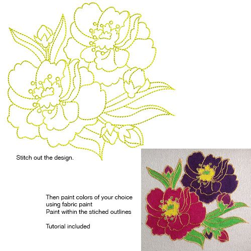 Embroidery Design: Stitch and Paint Flowers Small 5.38w X 5.00h