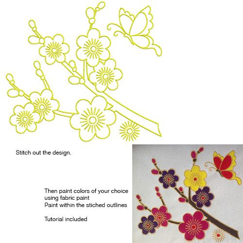 Embroidery Design: Stitch and Paint Cherry Blossoms Large 8.50w X 7.63h