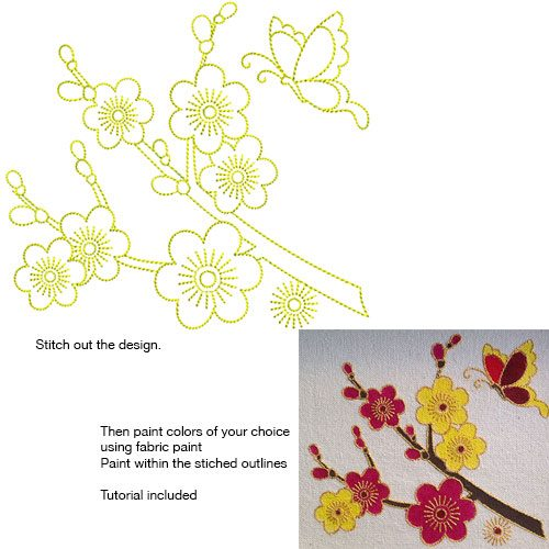 Embroidery Design: Stitch and Paint Cherry Blossoms Small 5.56w X 5.00h