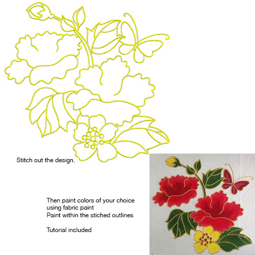 Embroidery Design: Stitch and Paint Floral and Butterfly Large 7.94w X 7.69h
