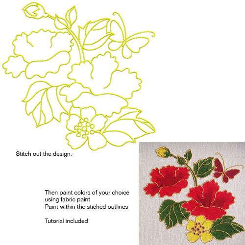 Embroidery Design: Stitch and Paint Floral and Butterfly Small5.13w X 5.00h