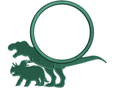 Embroidery Design: Dinosaur T-Rex Triceratops Applique Med 5.11w X 4.56h