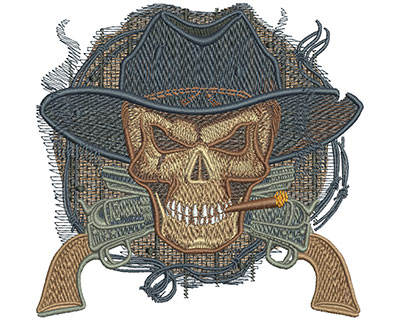 Embroidery Design: Cowboy Skull Med 4.55w X 4.37h