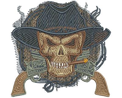 Embroidery Design: Cowboy Skull Sm 3.62w X 3.48h