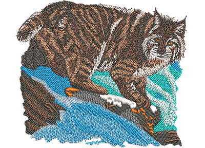 Embroidery Design: Bobcat Prowl Med 5.00w X 4.30h