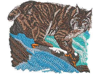 Embroidery Design: Bobcat Prowl Sm 4.02w X 3.46h