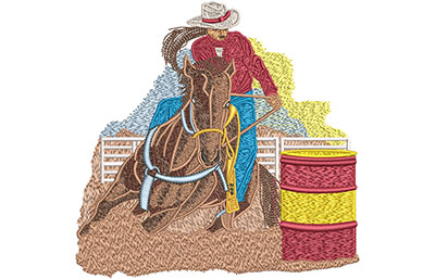 Embroidery Design: Cowgirl Barrel Roping Lg 5.87w X 5.76h