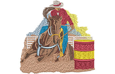 Embroidery Design: Cowgirl Barrel Roping Med 4.86w X 4.78h