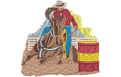Embroidery Design: Cowgirl Barrel Roping Sm 3.87w X 3.81h