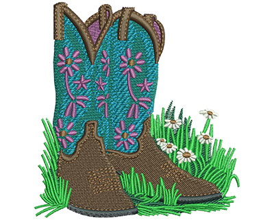 Embroidery Design: Cowgirl Boots Lg 3.34w X 3.52h