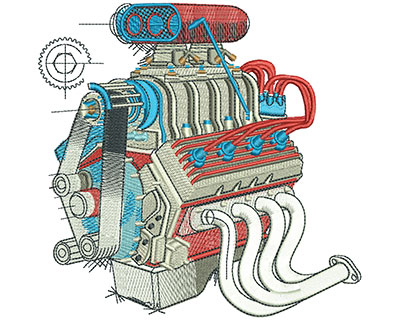 Embroidery Design: Engine Diagram Lg 5.43w X 5.29h