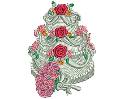 Embroidery Design: Flower and Cake Lg 3.51h X 2.45w