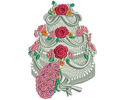 Embroidery Design: Flower and Cake Med 3.00h X 2.09w
