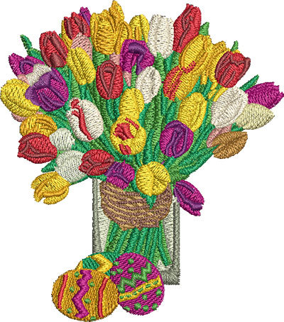 Embroidery Design: Flowers and Eggs Lg 3.55w X 4.02h