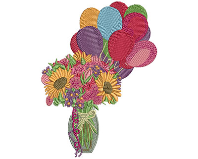 Embroidery Design: Birthday Flowers L 5.51H X 4.10W