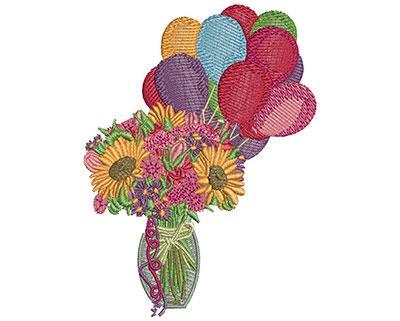Embroidery Design: Birthday Flowers M 4.48H X 3.34W