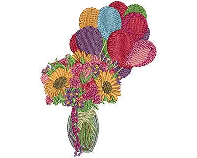 Embroidery Design: Birthday Flowers S 3.50H X 2.61W