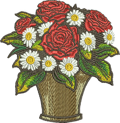 Embroidery Design: Rose Bouquet Lg 3.87w X 3.98h