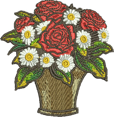 Embroidery Design: Rose Bouquet Sm 2.90w X 2.99h