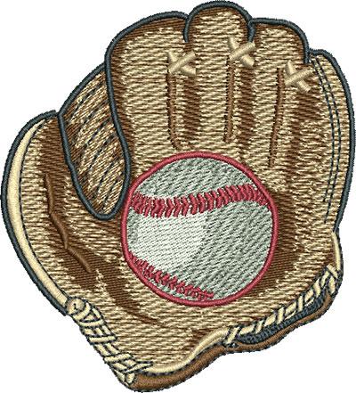 Embroidery Design: Baseball In Mitt Med 3.16w X 3.49h