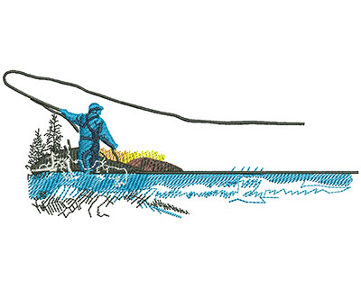 Embroidery Design: Fly Fishing Med 5.02w X 2.10h