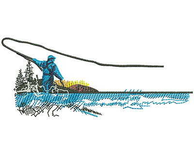 Embroidery Design: Fly Fishing Sm 4.02w X 1.68h