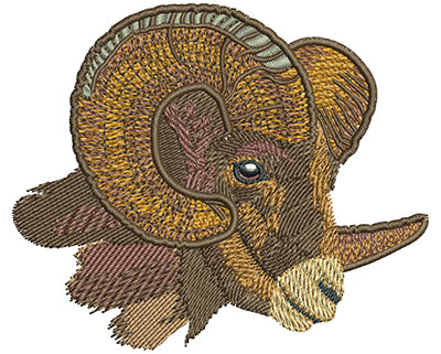 Embroidery Design: Ram Head Side View Sm 3.49w X 2.91h