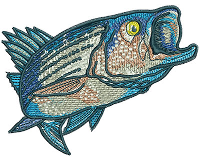 Embroidery Design: Striped Bass Med 4.02w X 3.06h