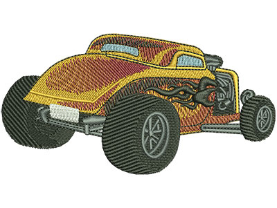 Embroidery Design: Rear View Tribal Flame Hotrod Lg 4.49w X 2.34h