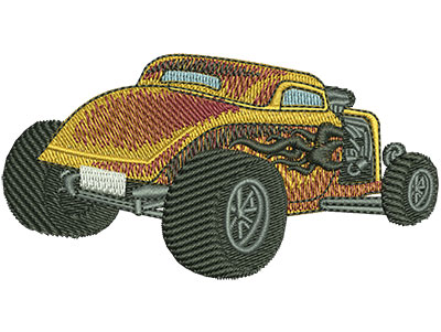Embroidery Design: Rear View Tribal Flame Hotrod Sm 3.49w X 1.82h