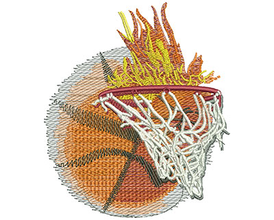 Embroidery Design: Flaming Basketball With Net Lg 3.88w X 4.49h