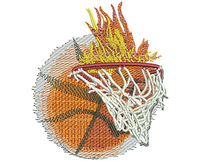 Embroidery Design: Flaming Basketball With Net Med 3.46w X 4.00h