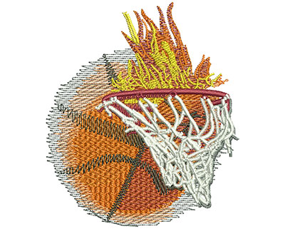 Embroidery Design: Flaming Basketball With Net Sm 3.01w X 3.50h