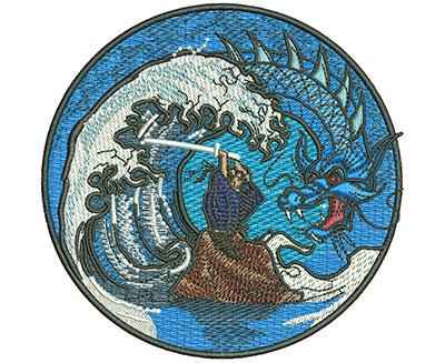 Embroidery Design: Samurai Dragon Med 4.10w X 4.03h