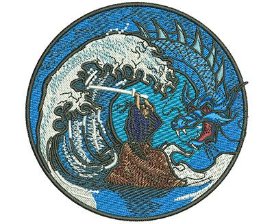 Embroidery Design: Samurai Dragon Sm 3.59w X 3.53h