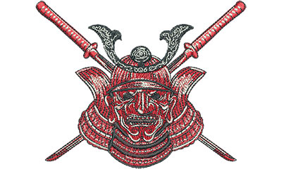 Embroidery Design: Samurai Mask Lg 4.48w X 3.58h