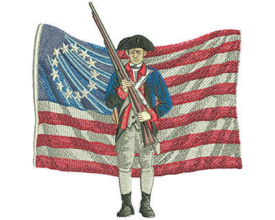 Embroidery Design: Patriot And Flag Lg 5.78w X 5.96h