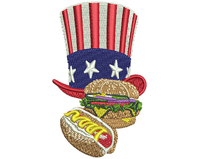 Embroidery Design: Hat and Food Sm 1.96w X 3.27h
