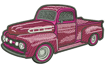 Embroidery Design: Red Classic Truck Lg 4.55w X 2.63h