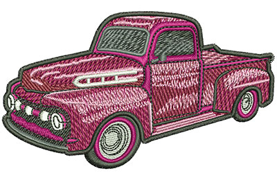 Embroidery Design: Red Classic Truck Sm 3.54w X 2.05h