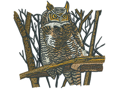 Embroidery Design: Owl Perched Lg 5.50w X 5.24h