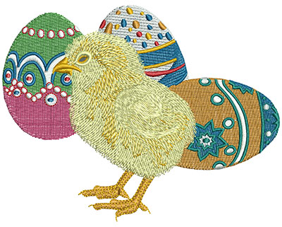 Embroidery Design: Chick and Eggs Lg 4.92w X 3.83h