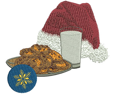 Embroidery Design Santa S Milk And Cookies Med 4 03w X 3 60h