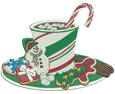Embroidery Design: Christmas Hot Chocolate Lg 5.99w X 4.65h